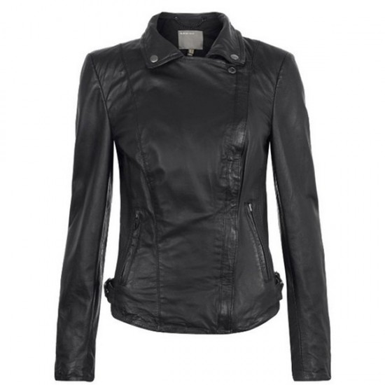 Women Front Zipper Black Leather Jacket