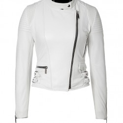 Women White Quilted Zippers Leather Jacket