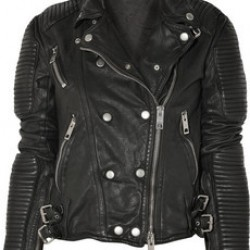 Women Black Quilted Shoulders Leather Jacket