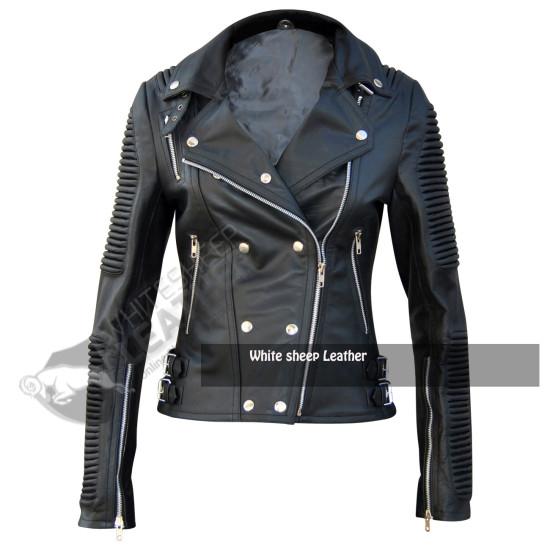 Ladies Brando Slim Fit Black Leather Jacket