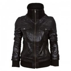Black Double Pocket Bomber Leather Jacket