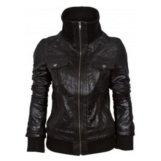 Black Double Pocket Bomber Leather Jacket