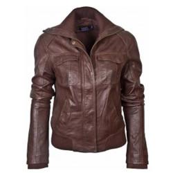 Ladies Brown Bomber Leather Jacket