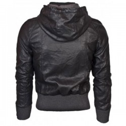 Black Bomber Hooded Leather Jacket