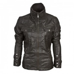 Women's Double Pocket Bomber Leather Jackets