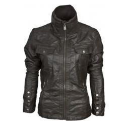 Women's Double Pocket Bomber Leather Jackets
