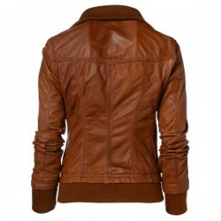 Womens Slim Fit Bomber Leather Jacket