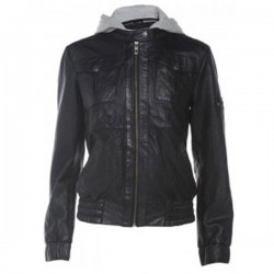 Ladies Black Bomber Hooded Leather Jacket