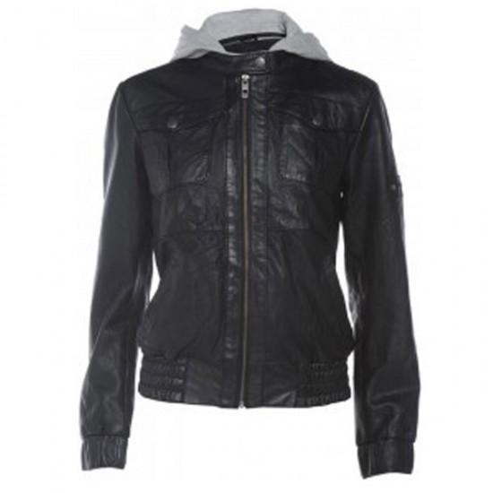 Ladies Black Bomber Hooded Leather Jacket