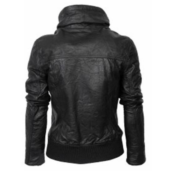 Ladies Black Classic Bomber Leather Jacket