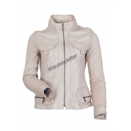 Women Two Front Flap Pockets Leather Jacket