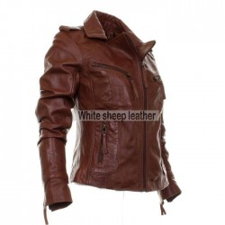Women Classic Brown Leather Fashion Jacket