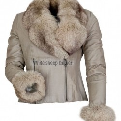 Victoria Fashion Fur Collar Luxury Leather Jacket