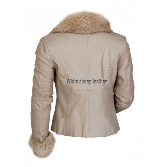 Victoria Fashion Fur Collar Luxury Leather Jacket