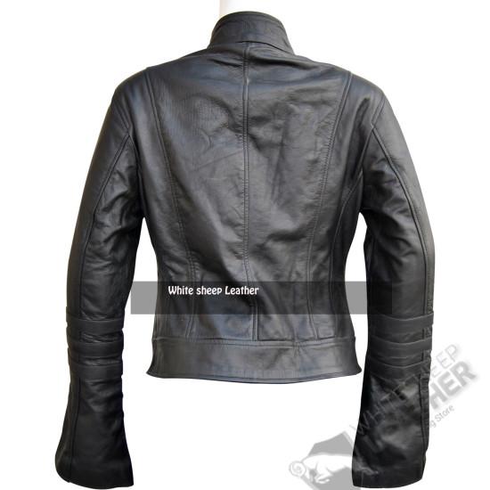 Women Slim Fit Stylish Real Leather Jacket