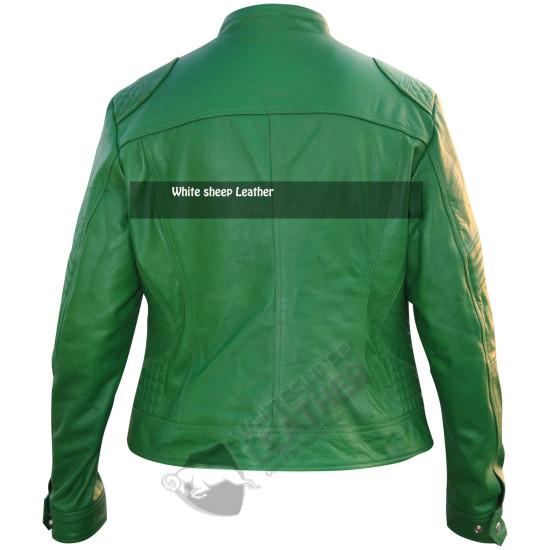 Ladies Green Motorcycle Leather Jacket