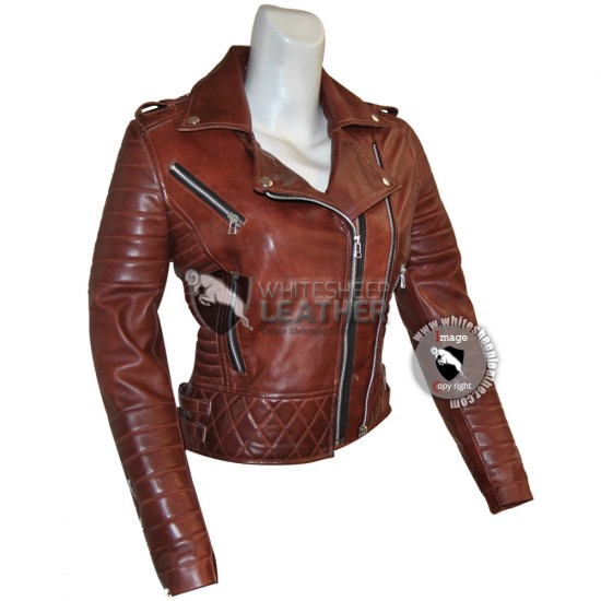 Designer Women's Brown Brando sheep leather Jacket
