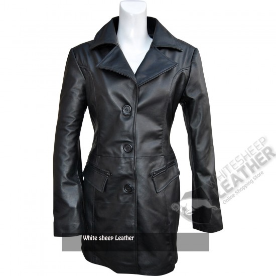 Women's Black Trench Long Leather Coat