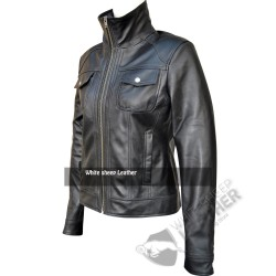 Women Four Pockets Style Leather Jacket