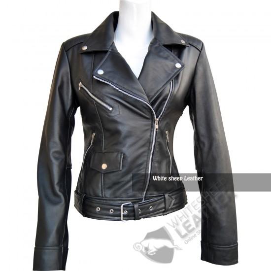 Ladies Brando Motorcycle Leather Jacket