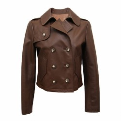 Women's Double Breasted Brown Leather Jacket