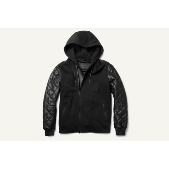 Men Black Hoodies Bomber Leather Jacket