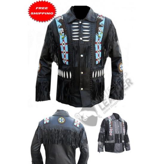 Eagle Desgin Beaded Bone Leather Jacket