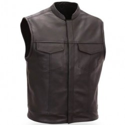 Men Brown Two Front Flap Pockets Leather Vest