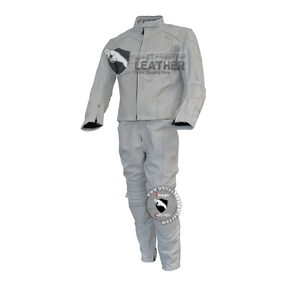 Men White Tom Cruise Oblivion Motorcycle Leather suit
