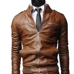 Men Brown Bomber Slim Fit Leather Jacket
