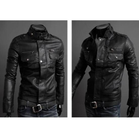 Men Double Button Slim Fit Black Leather Jacket