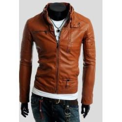 Men Slim Fit Brown Motorcycle Leather Jacket