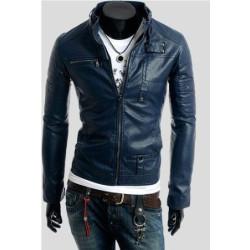 Men's Slim Fit Navy Blue Pu Leather Jacket