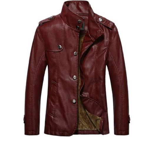 Ladies Slim Fit  Dark Red Leather Jacket