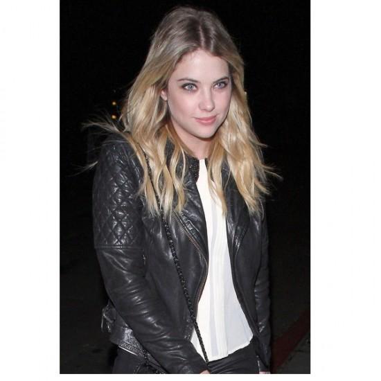Ashley Benson Black Slim Fit Leather Jacket