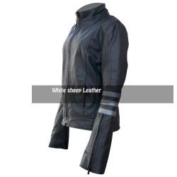Jessica Alba Women Black Leather Jacket