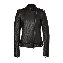 Women's Belt And Shoulder Epaulets Leather Jacket