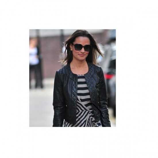 Ladies Collar Less Black Leather Jacket