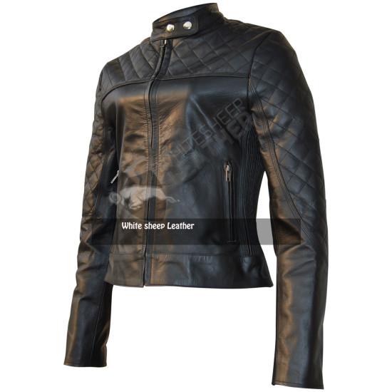 Women Quilted Biker Black Leather Jacket