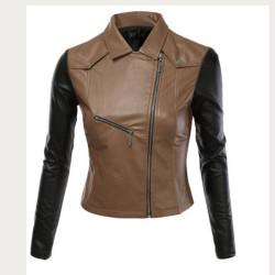 Women Black Brown Biker Leather Jacket
