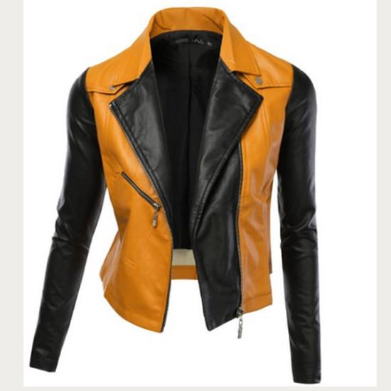 Women Black / Yellow Biker Leather Jacket