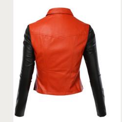 Women Black / Red Biker Leather Jacket