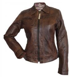 Designer Front Zipper Brown Leather Jacket