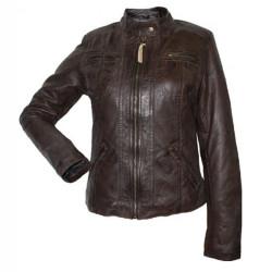 Designer Front Zipper Dark Brown Leather Jacket