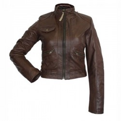 Designer Front Pocket Dark Brown Leather Jacket