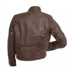 Designer Front Pocket Dark Brown Leather Jacket