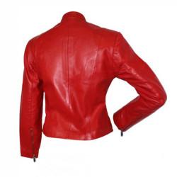 Designer Front Zipper Red Leather Jacket