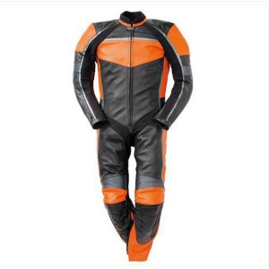 Men Black & Orange Motorbike Racing Leather Suits