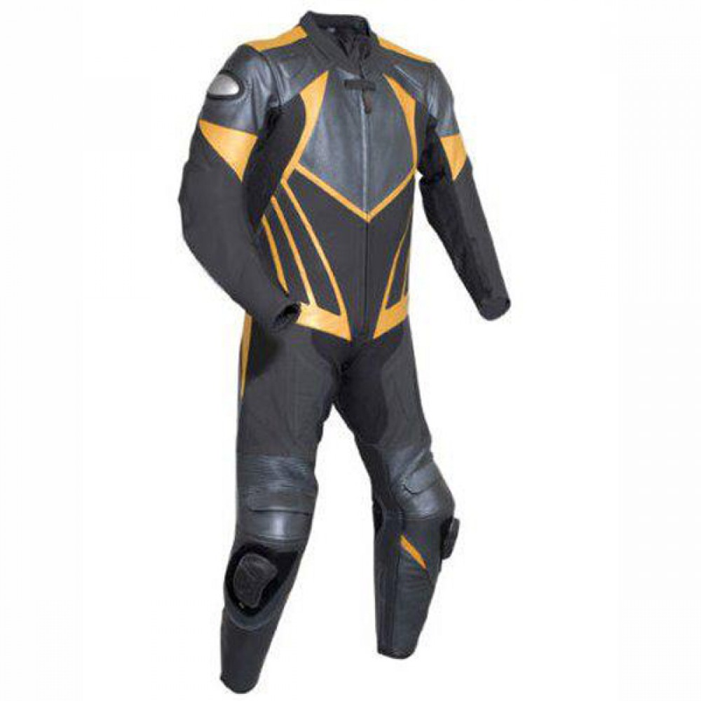 Men Black & Yellow Motorbike Racing Leather Suits