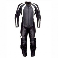 Men Black & White Motorbike Racing Leather Suits